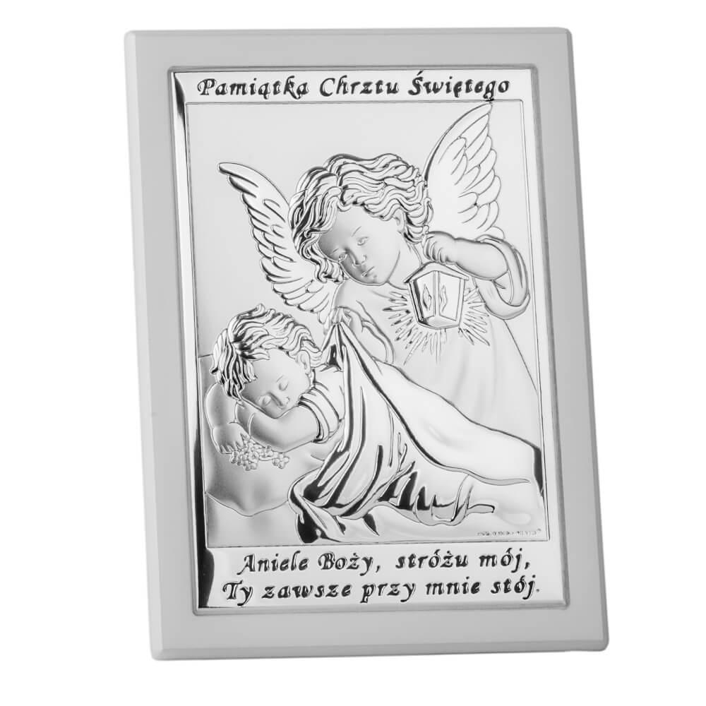 Pamiatka Chrztu Swietego Obrazek Srebrny W Bialej Ramce Salon